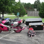 Not A Busa, It's A Pink Ninja Pulling A Trailer.